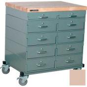 Stackbin Workbench, Mobile Workbench 32 x 24 x 34 Maple Top - Beige