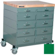 Stackbin® Double Drawer Bank Mobile 10 Drawer Cabinet, Maple Top Finish, Green