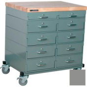 Stackbin® Double Drawer Bank Mobile 10 Drawer Cabinet, Maple Top Finish, Gray