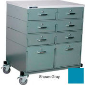 Stackbin® Double Drawer Bank 32 x 24 x 36 Mobile 8 Drawer Cabinet, Laminate Finish, Blue
