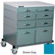 Stackbin® Double Drawer Bank Mobile 8 Drawer Cabinet, Laminate Finish, Blue