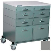 Stackbin® Double Drawer Bank Mobile 8 Drawer Cabinet, Laminate Finish, Gray