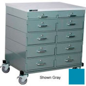 Stackbin® Double Drawer Bank Mobile 10 Drawer Cabinet, Laminate Finish, Blue