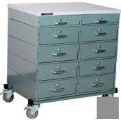 Stackbin® Double Drawer Bank Mobile 10 Drawer Cabinet, Laminate Finish, Gray