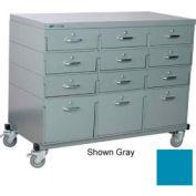 Stackbin® Triple Drawer Bank Mobile 12 Drawer Cabinet, Steel Top Finish, Blue