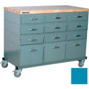 Stackbin® Triple Drawer Bank 48 x 24 x 36 Mobile 12 Drawer Cabinet, Maple Top Finish, Blue