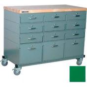 Stackbin Workbench, Mobile Workbench 48 x 24 x 36 Maple Top - Green