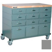 Stackbin® Triple Drawer Bank 48 x 24 x 36 Mobile 12 Drawer Cabinet, Maple Top Finish, Gray