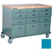 Stackbin® Triple Drawer Bank Mobile 12 Drawer Cabinet, Maple Top Finish, Blue