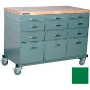 Stackbin Workbench, Mobile Workbench 48 x 24 x 35 Maple Top - Green