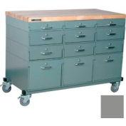 Stackbin® Triple Drawer Bank Mobile 12 Drawer Cabinet, Maple Top Finish, Gray