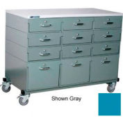 Stackbin® Triple Drawer Bank 48 x 24 x 36 Mobile 12 Drawer Cabinet, Laminate Finish, Blue