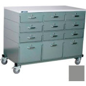 Stackbin® Triple Drawer Bank 48 x 24 x 36 Mobile 12 Drawer Cabinet, Laminate Finish, Gray