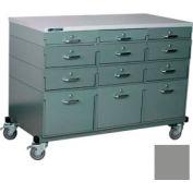 Stackbin® Triple Drawer Bank Mobile 12 Drawer Cabinet, Laminate Finish, Gray