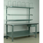 Stackbin No. 8 Adj. Height Economy Packing Workbench - Laminate Safety Edge with T-mold 72x30 Gray