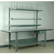 """Stackbin No. 8 Adjustable Height Packing Workbench, Laminate T-Mold Edge, 96""""W x 36""""D, Gray"""