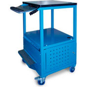 "Stackbin Enclosed Bottom Computer Cart, 30""W x 24""D x 40""H, Blue"