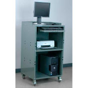 "Stackbin Mobile Computer Cabinet (Open Bottom), 27""W x 24""D x 43""H, Gray"