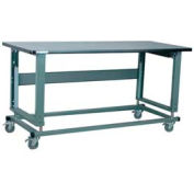 "Stackbin Workbench, 2500 Series, Electric Lift, ESD W/T-Molding, 48""W X 36""D, Blue"