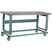 "Stackbin Workbench, 2500 Series, Electric Lift, Hardboard, 48""W X 30""D, Blue"