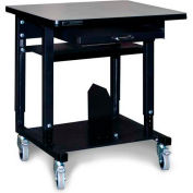 "Stackbin Small Mobile Computer Station, 36""W x 24""D x 33-1/2""H, Black"