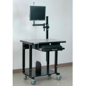"Stackbin Mobile Computer Station with Monitor Arm, 36""W x 24""D x 33-1/2""H, Blue"
