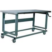 "Stackbin Workbench, 2500 Series, Hardboard Over Stainless, 60""W X 36""D, Gray"