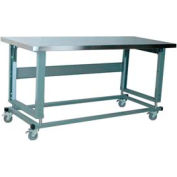 "Stackbin Workbench, 2500 Series, Electric Lift, Hardboard Over Stainless, 96""W X 36""D, Gray"
