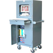 """Strong Hold Mobile Industrial Computer Cabinet with Retractable Keyboard 26""""W x 24""""D x 68""""H"""