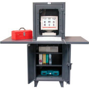 """Strong Hold Industrial Computer Workstation with Welded Desk Top 26""""W x 24""""D x 72""""H"""