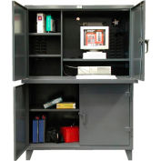 "Strong Hold Multi-Compartment Computer Cabinet 54""W x 24""D x 78""H"