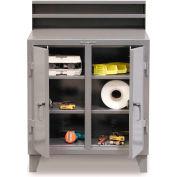 "StrongHold 2-Person Cabinet Shop Desk 44-SD-DS-284 Riser & Padlockable Doors 48""W x 28""D x 54""H Gray"