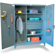 "Strong Hold Wardrobe Cabinet 45-W-243-4DB-PB with 4 Drawers & Pegboard - 48""W x 24""D x 66""H"