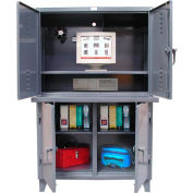 "Strong Hold Industrial Computer Cabinet with 3 Compartments 48""W x 24""D x 78""H"