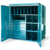 "Strong Hold Multi-Compartment Outdoor Cabinet 5.25.7-WP-404-6DB-FLP - 62""W x 40""D x 70""H"