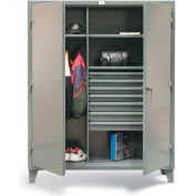 "Strong Hold Wardrobe Cabinet 56-W-243-7DB-PB with 7 Drawers & Pegboard  - 60""W x 24""D x 78""H"