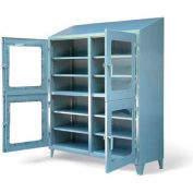 "Strong Hold Heavy Duty Four Compartment Clearview Cabinet 66-4D-LD-248-SL-CFG - 72""W x 24""D x 87""H"