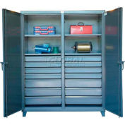 Strong Hold® Independent Locking Cabinet 66-DS-242-16DB - Double Door w/16 Drawers 72 x 24 x 78