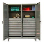 Strong Hold® Independent Locking Cabinet 66-DS-244-14DB - Double Door 2/14 Drawers 72 x 24 x 78