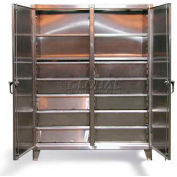 Strong Hold® Independent Lock Cabinet 66-DS-246-10DB-SS - SS 2-Door w/10 Drawers 72 x 24 x 78