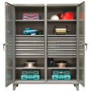 Strong Hold® Independent Locking Cabinet 66-DS-246-10DB - Double Door w/10 Drawers 72 x 24 x 78