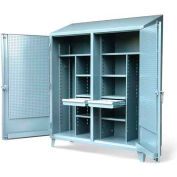 """Strong Hold Double Shift Cabinet 66-DSW/PB-248-2DB-SL-DIV w/Hooks & Pegboard - 72""""W x 24""""D x 87""""H"""