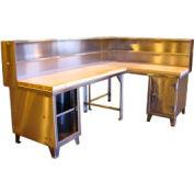 304 Stainless Steel Corner Workstation 96 x 36 x 57