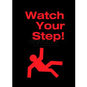 "NoTrax® Safety Message Mat, Watch Your Step, 3/8"" Thick, 3'x5', Black"