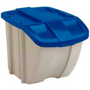 Suncast BH181812 18 Gallon Stacking Hopper Bin, Taupe w/Blue Lid, Price Each, Sold In Pack of 8 - Pkg Qty 8
