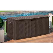 """Suncast BMDB60 Resin Wicker Outdoor Storage Deck Box  60 Gallon 26-3/4""""L x 27-1/2""""W x 26-1/4""""H Java"""
