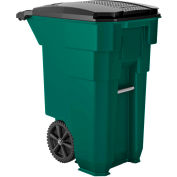 Suncast Commercial Wheeled Trash Can with Lid, 50 Gallon, Green - BMTCW50G