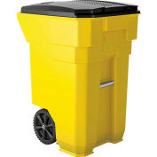 Suncast Commercial Wheeled Trash Can with Lid, 65 Gallon, Yellow - BMTCW65Y