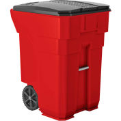 Suncast Commercial Wheeled Trash Can with Lid, 96 Gallon, Red - BMTCW96R