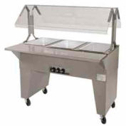 Portable Solid Top Buffet Table, (3) Pan Size, Solid Base, Black